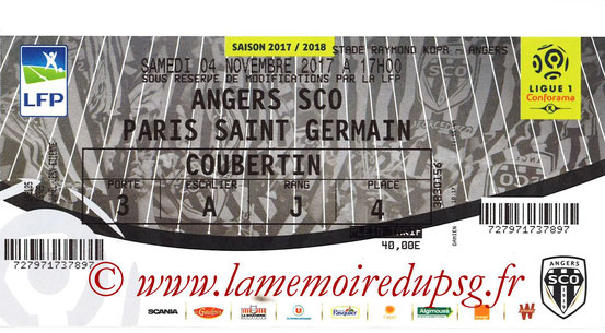 Ticket  Angers-PSG  2017-18