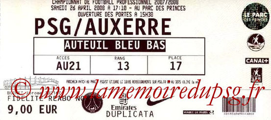 Ticket  PSG-Auxerre  2007-08