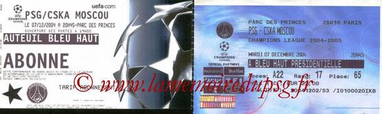 Tickets  PSG-CSKA Moscou  2004-05