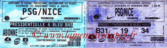 Tickets  PSG-Nice  2003-04