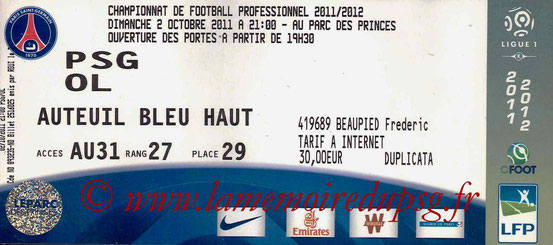 Ticket  PSG-Lyon  2011-12