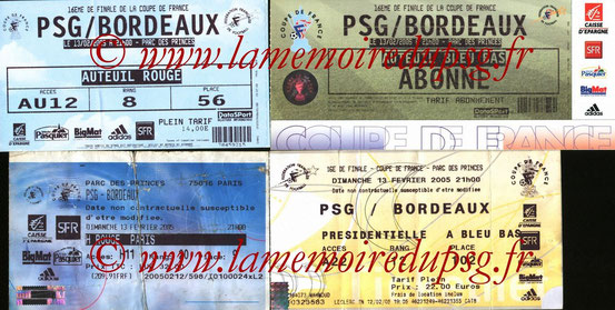 Ticket  PSG-Bordeaux  2004-05