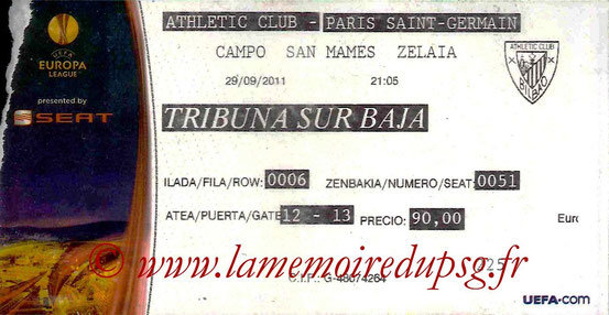 Ticket  Athletic Bilbao-PSG  2011-12