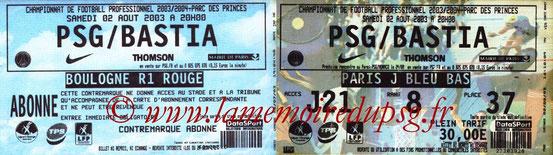 Ticket  PSG-Bastia  2003-04