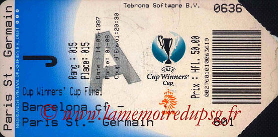 Ticket  PSG-Barcelone  1996-97