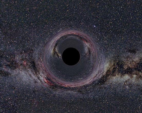 Computersimulation eines 600 km entfernten, nichtrotierenden Schwarzen Lochs von 10 Sonnenmassen. Die Milchstraße im Hintergrund erscheint durch die Raumzeitkrümmung verzerrt und doppelt. Die Bildbreite entspricht einem Blickwinkelbereich von 90°.