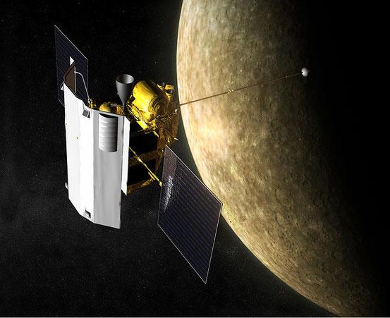Künstlerische Darstellung von MESSENGER am Merkur