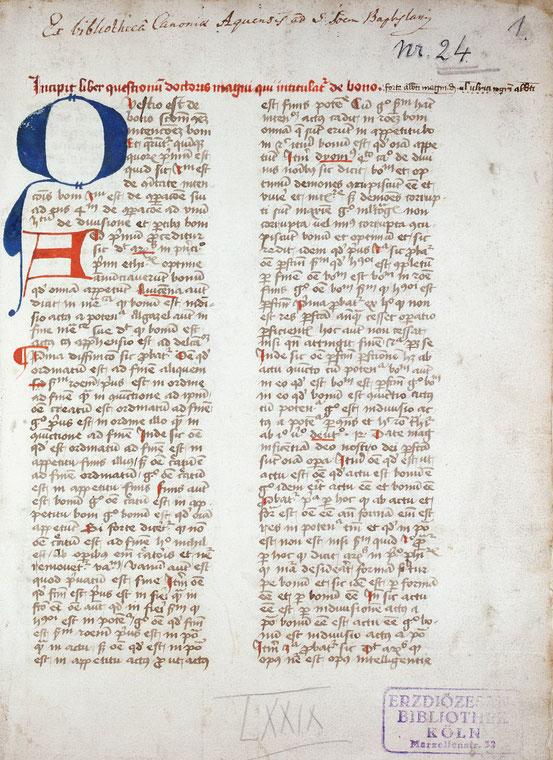 """Beginn der Abhandlung De Bono (""""Über das Gute"""") Alberts des Großen, Köln, Dombibliothek, Codex 1024, fol. 1r"""