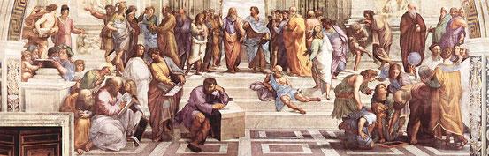 """Ausschnitt aus Raffaels """"Die Schule von Athen"""" (1510–1511), Fresko in der Stanza della Segnatura (Vatikan)."""