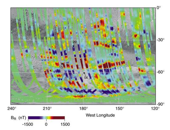 Magnetisierung des Mars – Rot und Blau kennzeichnen entgegengesetzte Richtungen des Magnetfelds, ein Drittel der Südhalbkugel