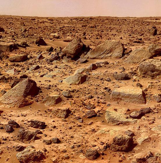Typisches Felsengestein auf der Marsoberfläche (aufgenommen von Mars Pathfinder)