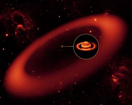 Künstlerische Darstellung des Rings entlang der Bahn des Mondes Phoebe