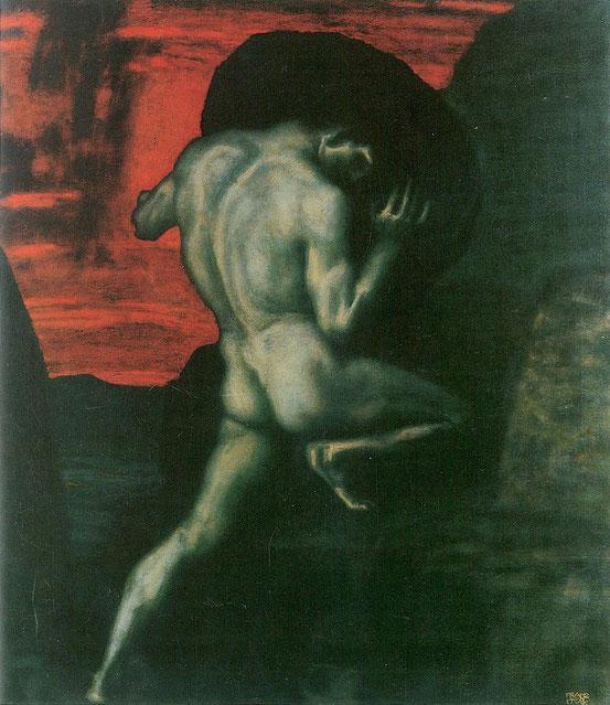 Franz von Stuck, Sisyphus (1920). Der Mythos von Sisyphus ist von Albert Camus noch im 20. Jh. als Modell verwendet worden.