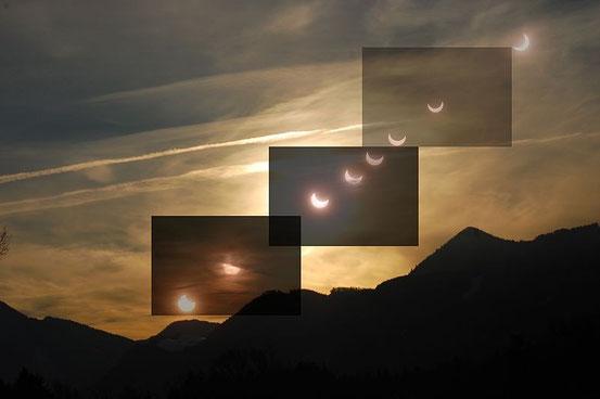 Verlauf einer partiellen Sonnenfinsternis, vom 4. Januar 2011.