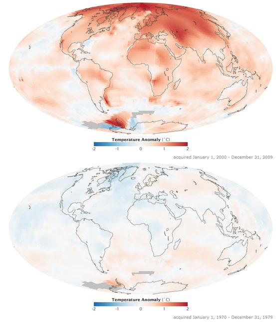 Veränderung der Oberflächentemperaturen 2000–2009 (oben) und 1970–1979 (unten), bezogen auf die Durchschnittstemperaturen von 1951 bis 1980