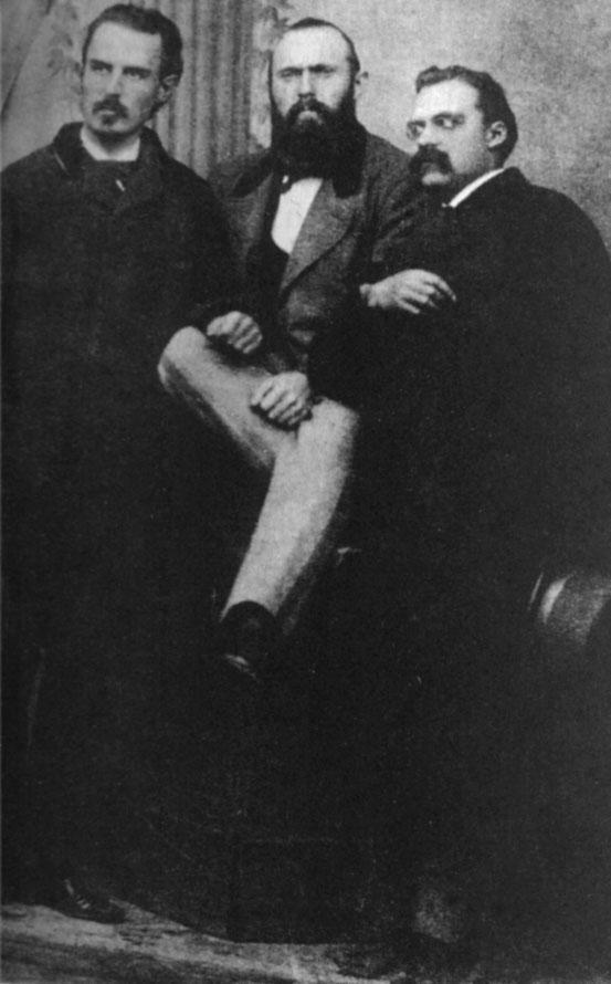 Erwin Rohde mit Carl von Gersdorff und Friedrich Nietzsche (v.l.), Oktober 1871 in Naumburg (Saale)