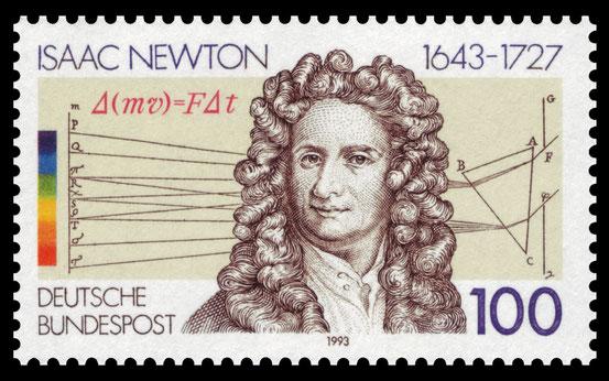 Sonderbriefmarke der Deutschen Bundespost zu Ehren von Isaac Newton