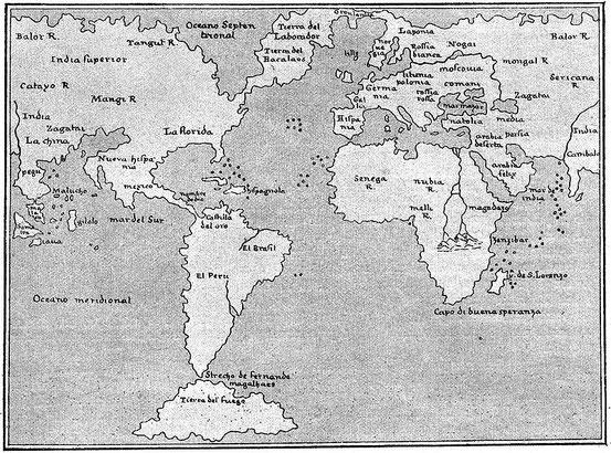Weltkarte aus der Ptolemäus-Ausgabe von 1548
