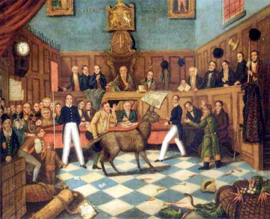 Gemälde zur ersten Anklage wegen einer Grausamkeit gegenüber Tieren.