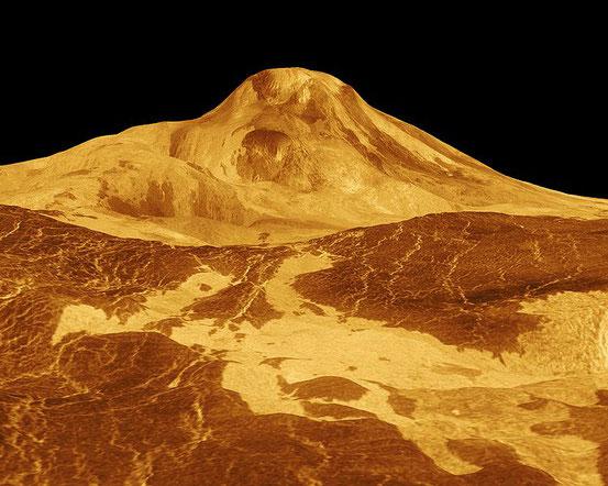 Mit 8 km Höhe ist Maat Mons der höchste Vulkan auf der Venus.