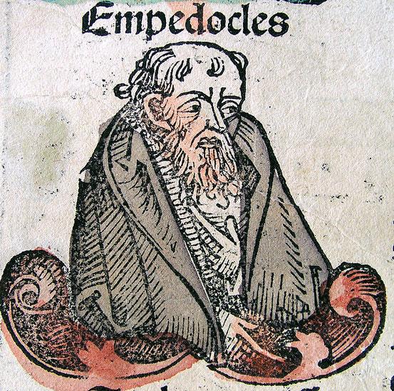 Darstellung des Empedokles in der Nürnberger Chronik von Hartmann Schedel, 1493