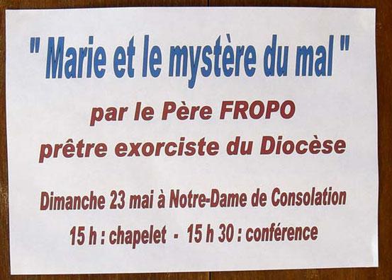 """""""Maria und das Mysterium des Bösen"""": Ankündigung des französischen Exorzisten-Priesters Régis Fropo aus der Stadt Hyeres (Diözese Fréjus-Toulon - Var, 2010)"""