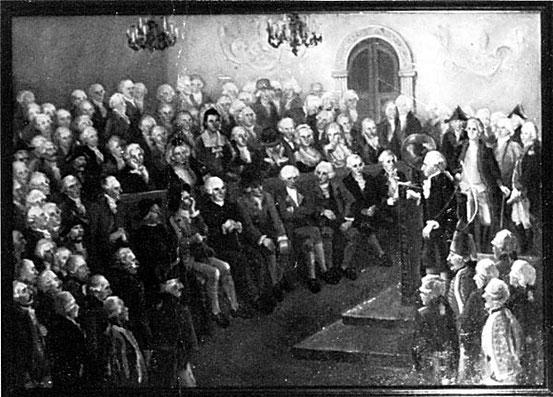 Kant liest vor russischen Offizieren, Gemälde von I. Soyockina/ V. Gracov.