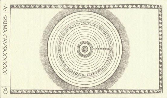 Die ranghöchste Karte der Mantegna Tarocchi (um 1465) soll die prima causa als den ganzen Kosmos darstellen.