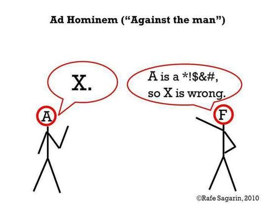 A: Die Erde ist eine Scheibe. F: A ist ein Ungläubiger, also ist seine Behauptung falsch
