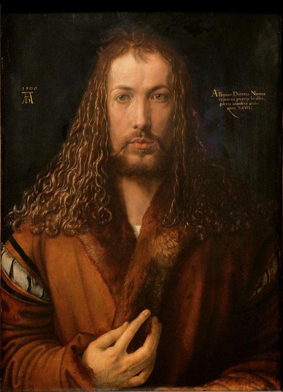 Albrecht Dürer, Selbstbildnis (1500). Ein Mensch in der Pose Christi, des Erlösers, eines Gottes