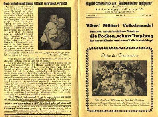 Propaganda der Reichsimpfgegner e.V. 1933