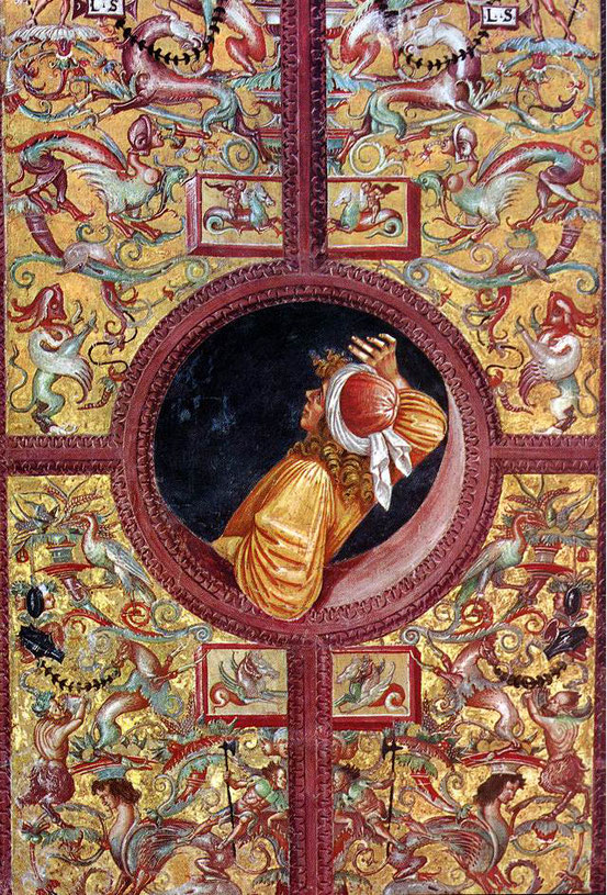 Empedokles lehnt sich aus dem Fenster, um den kosmischen Prozess zu beobachten. Fresko von Luca Signorelli im Dom von Orvieto, 1500/1502
