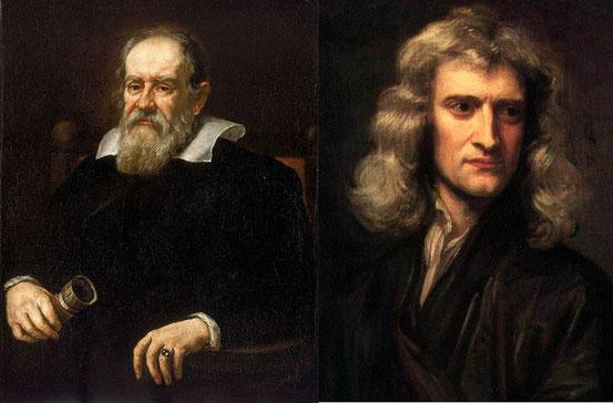 Galileo Galilei (links) und Isaac Newton (rechts)