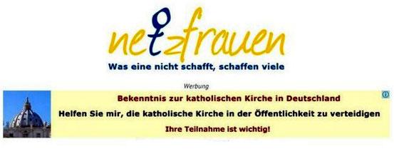 Logo der Netzfrauen mit Werbung für die katholische Kirche (Bild: Netzfrauen)
