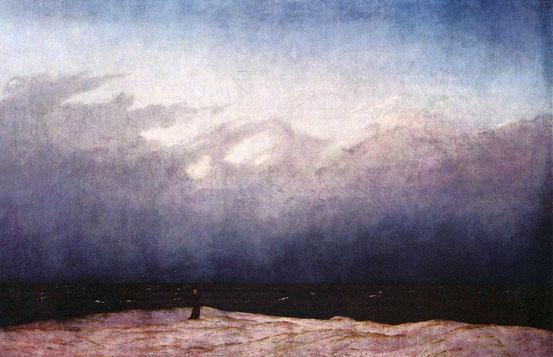 Caspar David Friedrich, Der Mönch am Meer (1808–1810). Das Bild thematisiert die Frage nach der Stellung und der Bedeutung des Menschen im Weltganzen.