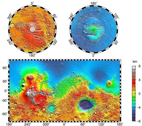 Topografische Karte des Mars. Die blauen Regionen befinden sich unterhalb des festgelegten Nullniveaus, die roten oberhalb