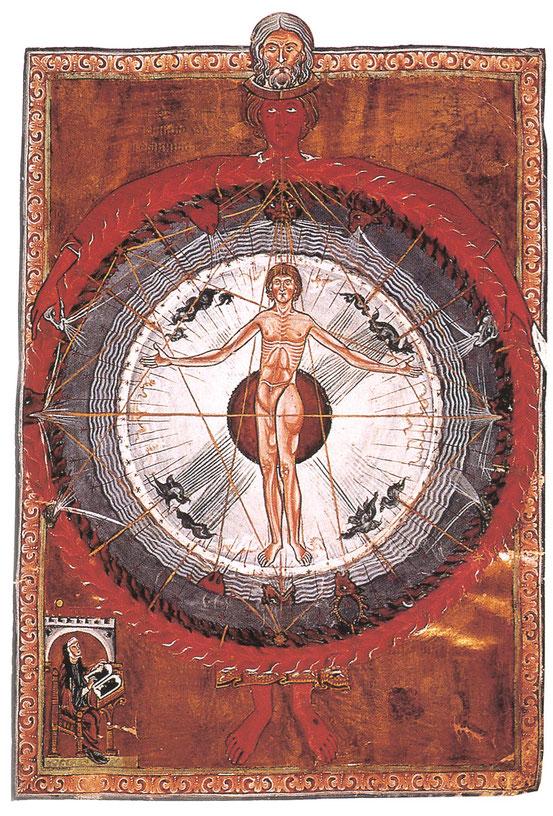 Hildegard von Bingen, Liber Divinorum Operum (13. Jh.). Der Mensch im Mittelalter ist als Mikrokosmos Spiegel des Makrokosmos – und zugleich Ebenbild Gottes.