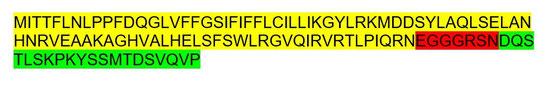 Abb. 3: t-urf13-Protein (Aminosäuren im IUPAC Ein-Buchstaben-Code). Die Farben bezeichnen die Herkunft der betreffenden Anteile: