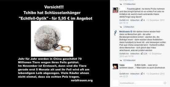 Alarmistischer Fehlalarm über angebliches Tchibo Fellprodukt bei facebook und Kommentar eines Lesers dazu im Dezember 2015 (Bild:facebook)