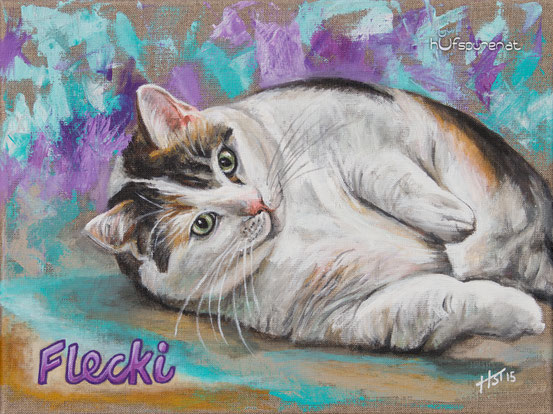 """Katze """"Flecki"""", Acryl auf Leinwand, 40x30, 2015"""