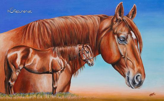 """Geburtstagsgeschenk Pferdegemälde Quarter Horse """"Sultans Diamond"""", Acryl auf Leinwand, 105x65, Pferdemalerei von Hanna Stemke, www.hufspuren.com"""
