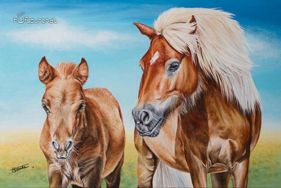 """Pony mit Fohlen, """"Tinkerbell mit Fiby"""", Acryl auf Leinwand, 90x60, Künstlerin Hanna Stemke von Hufspuren"""