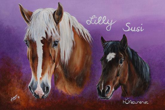 """Haflinger und Shetty """"Lilly und Susi"""", Acryl auf Leinwand 90x60, 2015, Pferdemalerei Hufspuren von Hanna Stemke"""