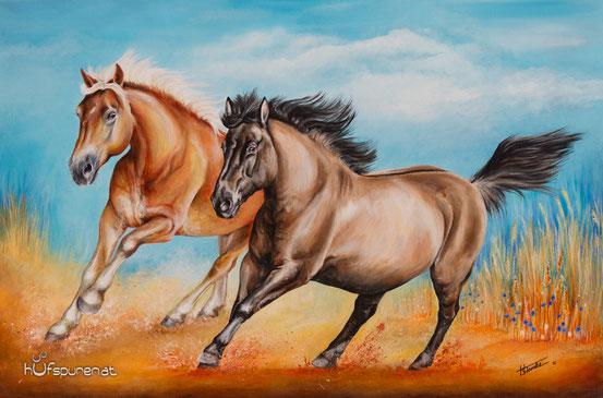 """Haflinger und Huzule """"Anni & Nuri"""", Acryl auf Leinwand 90x60, 2016, Künstlerin Hanna Stemke / Hufspuren Pferdemalerei"""