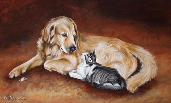 Golden Retriever und Katze, Hundegemälde und Katzengemälde von Hanna Stemke, Hufspuren,
