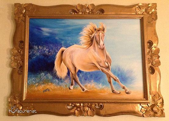 Gemälde an der Wand, Pferdemalerei Hufspuren.com