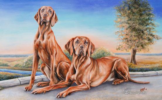 "Geburtstagsgeschenk Hundegemälde Magyar Vizsla ""Alana und Jenny"", Acryl auf Leinwand, 105x65, Hundemalerei von Hanna Stemke, www.hufspuren.com"