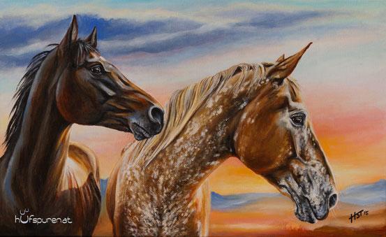 "Paint Horse und Appaloosa ""FS Colonel Flash Back und Amber"",  Acryl auf Leinwand, 68x42"
