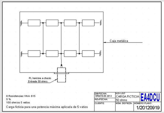 Carga ficticia para 50 ohmios (esquema)