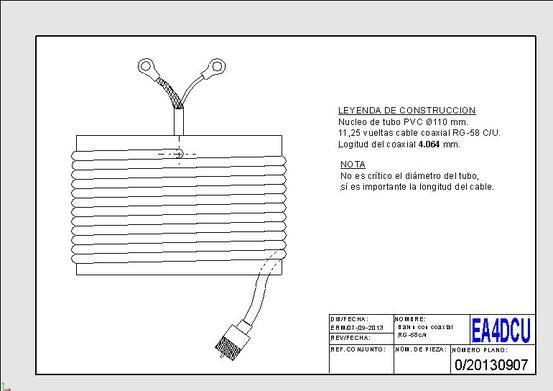 Balun con cable coaxial de 1,8 a 30 Mhz relación 1:1
